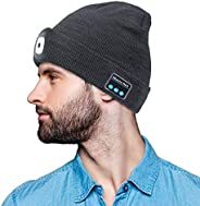 Bluetooth Beanie Hat,PRAVETTE LED Lighted Hat with Built-in Stereo Speakers & Mic,Unisex USB Rechargeable
