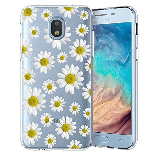 Unov Galaxy J7 2018 Case Clear with Design Slim Protective Soft TPU Embossed Flower Pattern Cover for Galaxy J7 Crown J7 Refine J7 Star J7 V J7V 2nd Gen J7 Aero J737V(White Daisy)