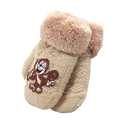 Auxma Warm Gloves Baby Girls Boys Cute Monkey Pattern Winter Gloves Infant Thicken Comfort Mittens