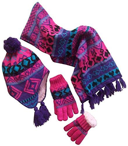 (N'Ice Caps Big Girls Sherpa Lined Geo Print Hat/Scarf/Glove Knitted Set (9-12yrs,)