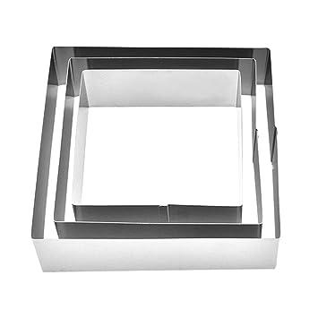 Amazon.com: Pinji Juego de 3 moldes cuadrados de acero ...