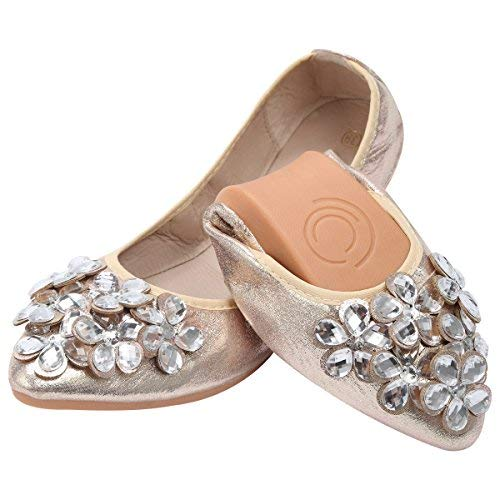 (KUNSHOP Women Ballet Flats Rhinestone Wedding Ballerina Shoes Foldable Sparkly Bridal Slip on Flat Shoes Gold)