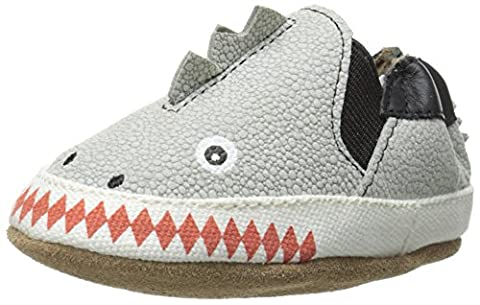 Robeez Dino Dan Flat (Infant), Pale Grey, 6-12 Months M US Infant