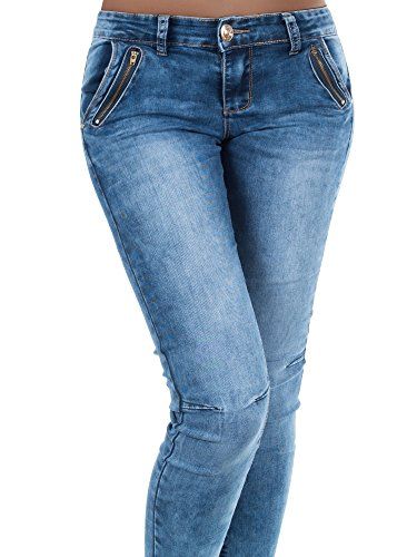 173c2a0a37ef75 N662 Damen Jeans Hose Skinny Stretch Röhrenjeans Röhrenhose Röhre Normaler  Bund Blau V0eXYw3W ...