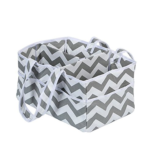 Baby Diaper Caddy, Nursery Storage Bin Organizer Basket Portable Diaper Bag Car Organizer For All Baby Essentials Great Baby Shower Party GIFT White Gray Chevron CGBOOM