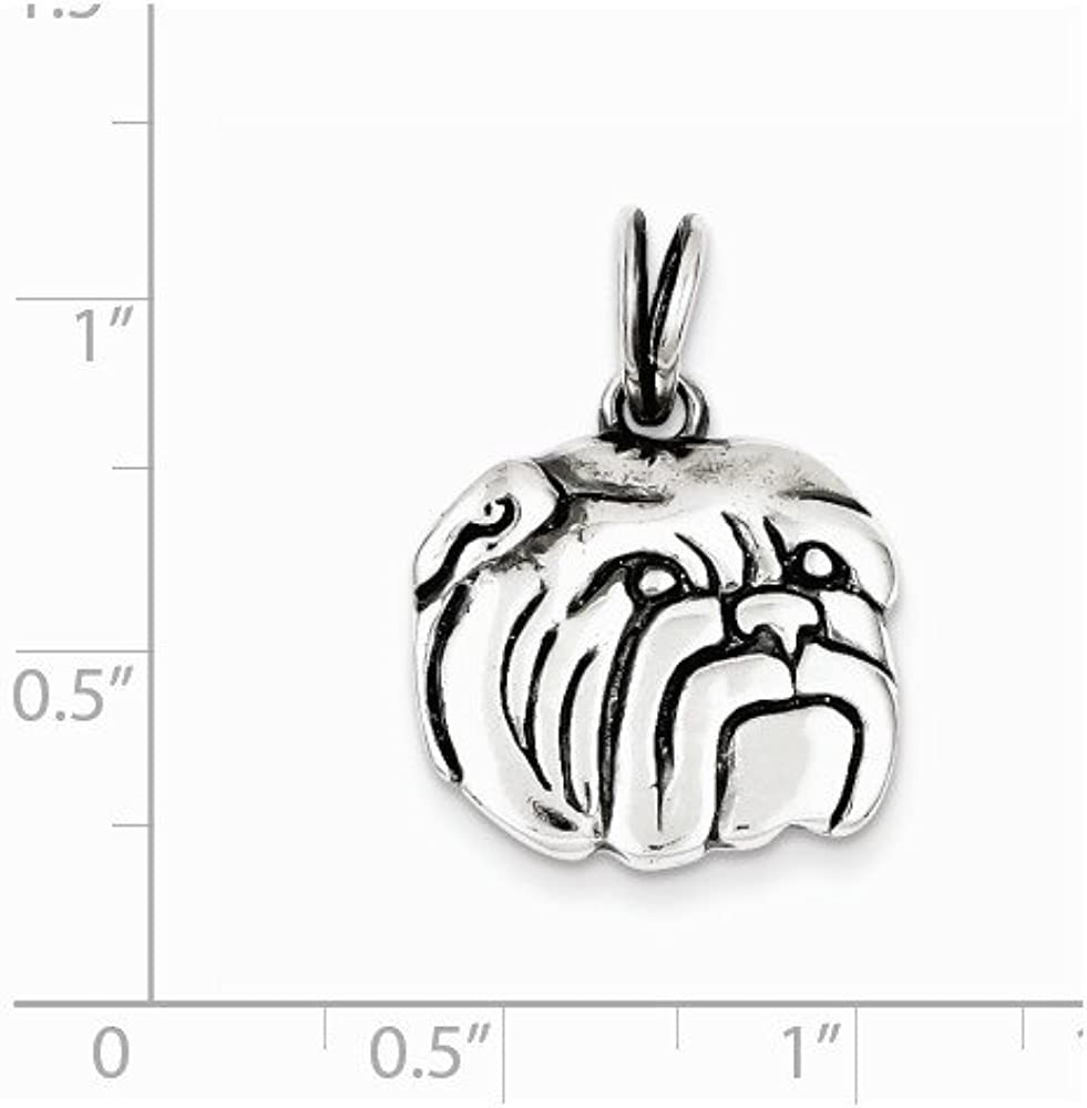 Mireval Sterling Silver Antiqued Bulldog Charm on a Sterling Silver Chain Necklace 16-20