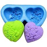"Allforhome moules 2-silicone pour savon casting ""coeur de roses"""