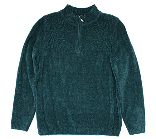 Alfred Dunner Women's Classic Plus Chenille Pullover 1/4 Zip Sweater