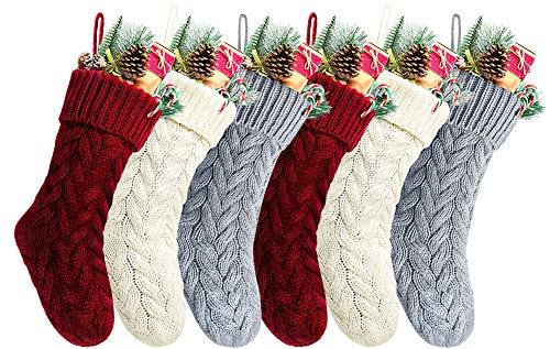 Kunyida 18 Inches Burgundy, Ivory, Gray Knitted Christmas Stockings,6 Pack