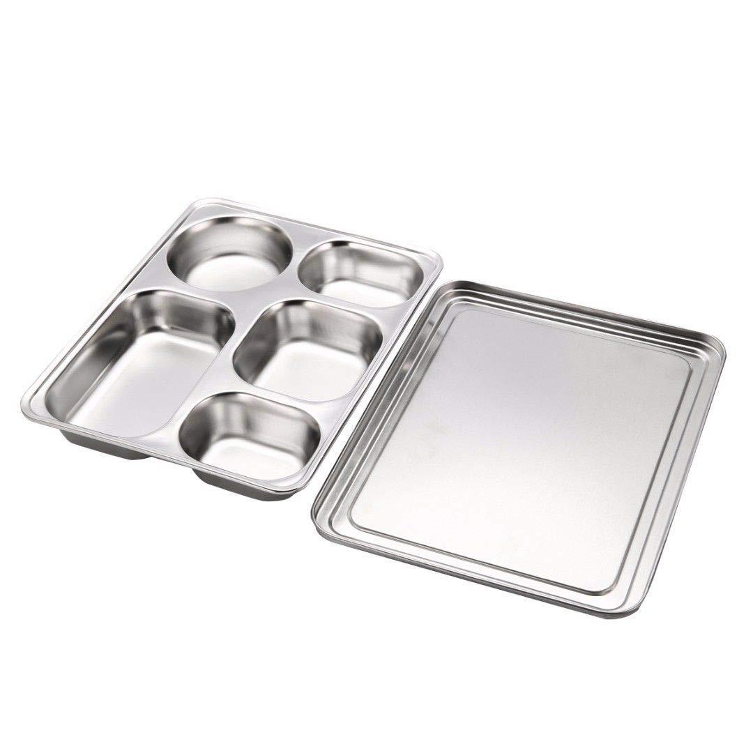 Bazzano ステンレススチール ランチボックス 分割ランチ食品 弁当箱 ベストトレイカバーセット   B07GQ591LV
