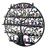ESHION Wall Mounted 5 Tier Nail Polish Rack Holder - Tree Silhouette Round Metal Salon Wall Art Display