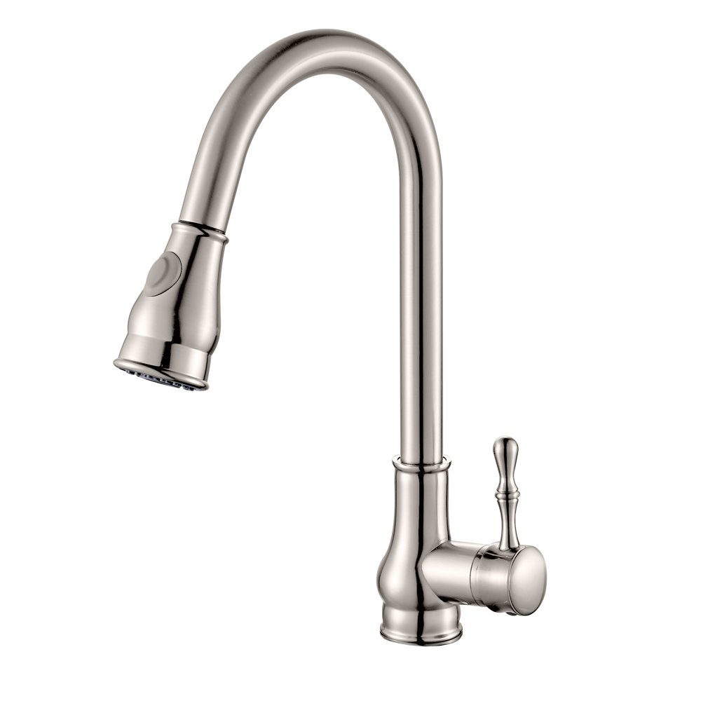 ROVATE Kitchen Faucets with 2-Function Pull-Down Sprayer, Swivel Single Handle Single Hole Pull Out Bar Sink Faucets, Brushed Nickel