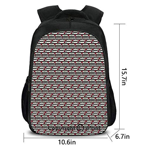Outdoor Travel Backpack,Romantic Rose Flowers on Minimalist Horizontal Lines Artistic Love Design,School Bag :Suitable for Men and Women,School,Travel,Daily use,etc.Ivory Red Black Grey