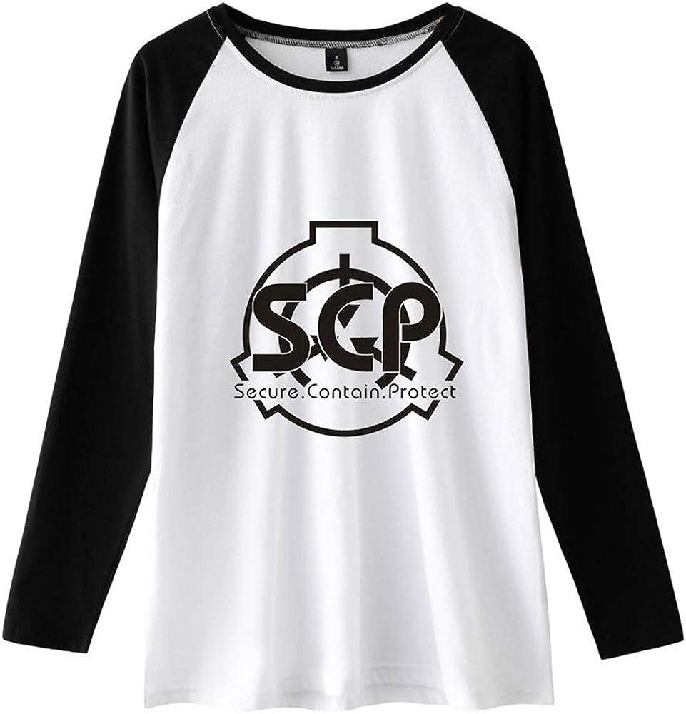 Qmhrjfdm SCP Foundation Manica Lunga Maglietta T-Shirt Stile Sportivo Manica Lunga da Uomo in Cotone Girocollo
