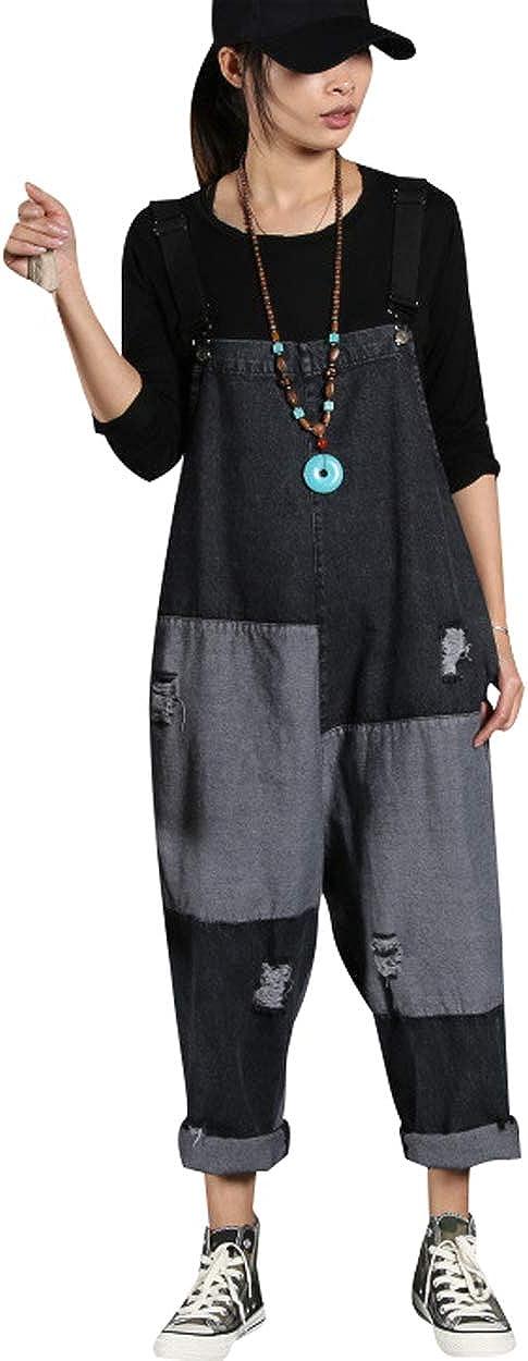 Bigasset Womens Denim Overalls Sleeveless Long Playsuit Jumpsuit Dungarees
