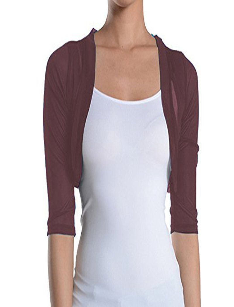Fashion Secrets Junior`s Sheer Chiffon Bolero Shrug Jacket Cardigan 3/4 Sleeve (XX Large, Burgundy/Wine)