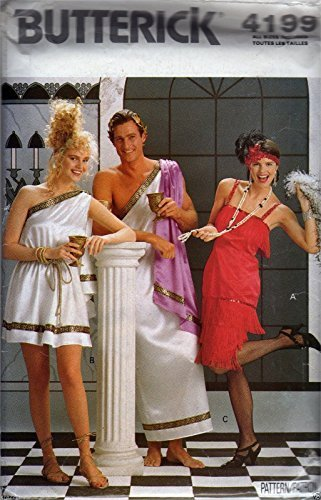 Butterick 4199 - Flapper Greek Toga Costume Sewing Pattern Miss & Men All (Greek Costume Patterns)