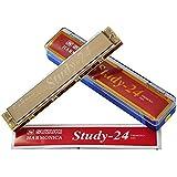 铃木口琴24孔复音初学者成人演奏乐器 Study-24 c调口琴 (银色)