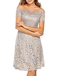 Women Vintage Lace Short Sleeve Floral Off Shoulder Cocktail Formal Swing Dress