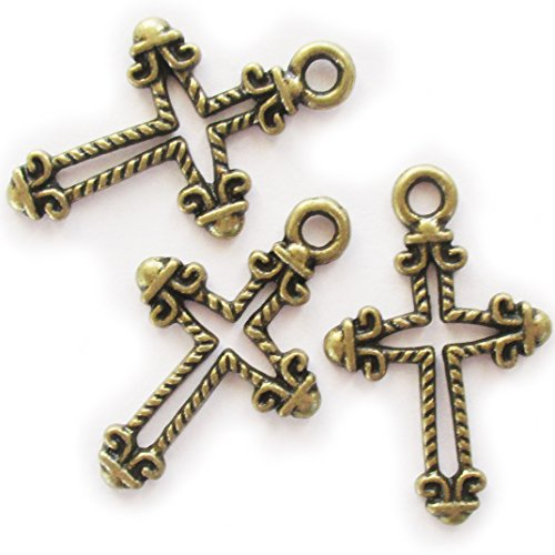 Heather's cf 96 Pieces Brass Tone Pattern Hollow Cross Pendant Beads DIY Religious Cross Charm Bead Findings 26X16mm Pewter Religious Charms