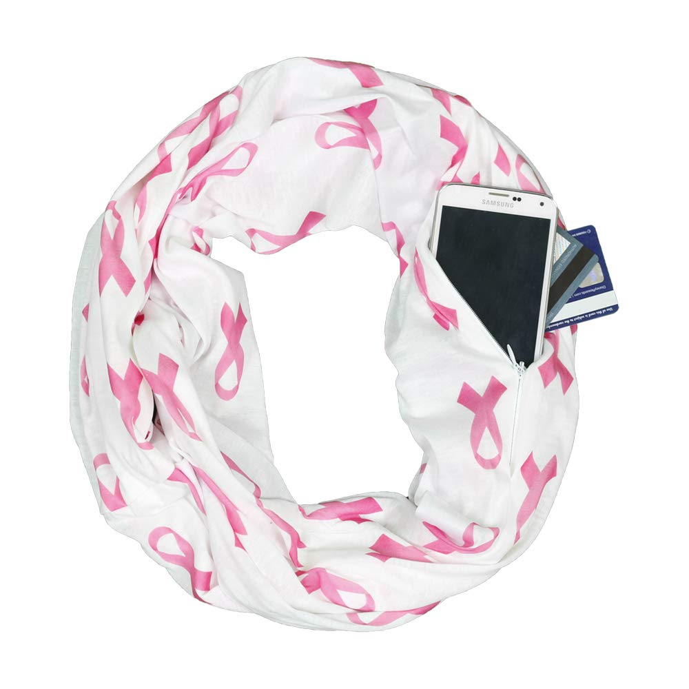Breast Cancer Awareness White Scarf w/ Pink Ribbon and Zipper Pocket - Pop Fashion PFYQ1156-WT
