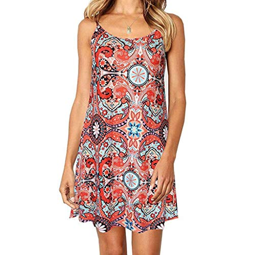 Nihewoo Women Summer Dresses Spaghetti Strap Sundress Maxi Boho Dress Sleeveless Swing Dress Beach Party Dresses Red