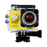 Aokon Action Camera WiFi HD 1080P 12M Waterproof Underwater Cam - 170°Wide Angle Lens - 2.0 Inch LCD Screen - 2 Batteries - 19 Accessories Kit (Yellow)