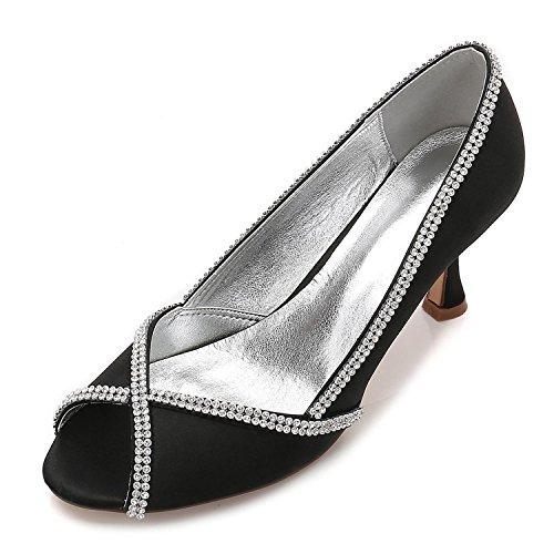 in Donna a Basso Diamante Punta Sposa da shoes Elegant Tacco E17061 high 14 e con Punta Aperta Black Raso con Sandali Scarpe Tacco di da x7ga7
