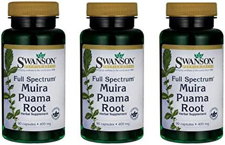 Swanson Muira Puama Root Sexual Health Virility Libido Boost Support Men's Women's Supplement 400 mg 90 Capsules (3 Pack)