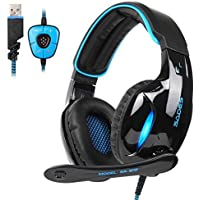 SADES Newest SA902 7.1 Channel Virtual Surround Sound USB Gaming Headset Over-ear Headphones with Noise Isolating Mic…