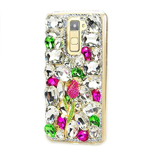 STENES LG Leon Case - STYLISH - 100+ Bling Crystal - 3D Handmade Rose Design Protective Case For LG Leon C40 /LG Tribute 2 /LG Risio - Hot Pink&Green