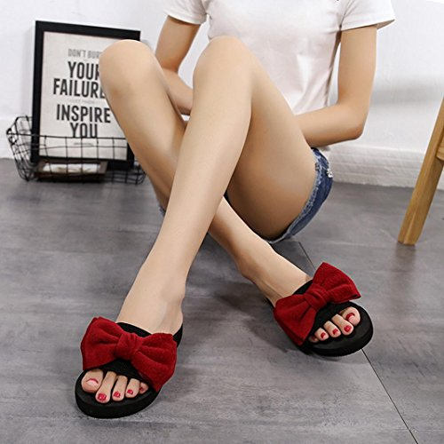 Sandals Flip Shoes Women Red Indoor Outdoor Beach Bow Banstore flops Slipper 5fw7xYZq
