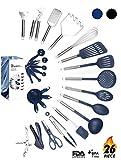 Kitchen Utensil Set - 26 Kitchen Gadgets & Cooking Utensils. Stainless Steel Kitchen Utensils for Nonstick Cookware Set. Spatula Set. Best Kitchen Tools Apartment Essentials Gifts for him - ÉLEVER
