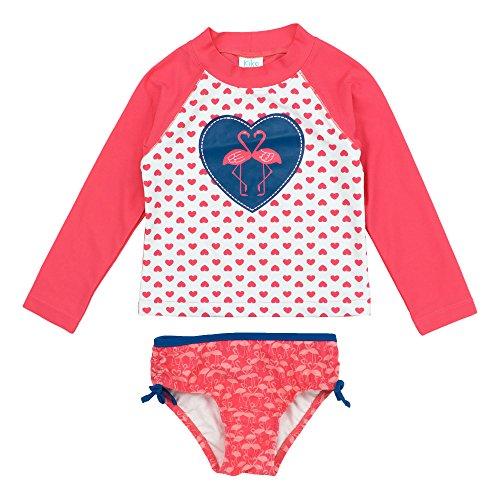 Kiko & Max Little Girls' Suit Set With Long Sleeve Rashguard Swim...
