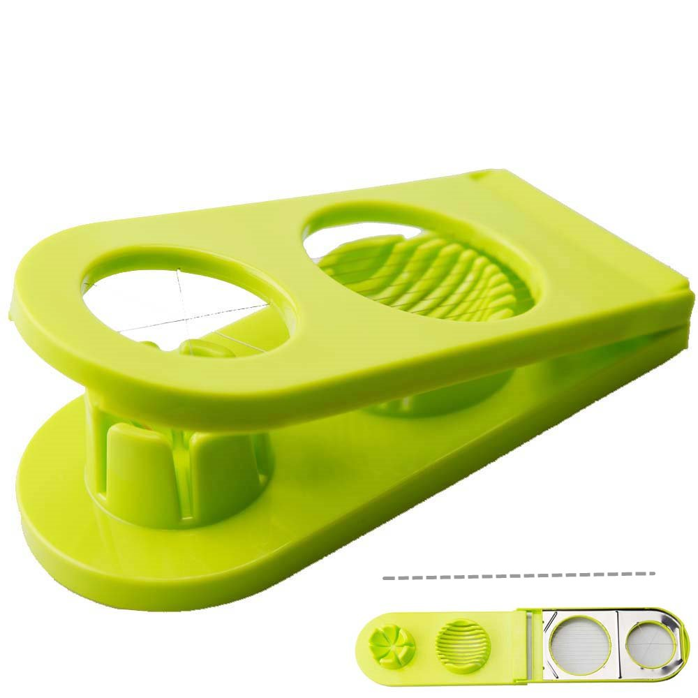 Aitchen Newest Egg Slicer Egg Strawberry Mushroom Dual Slicer BPA Free Dual Function Egg Dicer & Wedger Features Stainless Steel Blades(green)