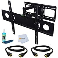 Dual Arm Articulating Wall Mount for LG 47 for 47 (47LB6300, 47LA6200, 47LN5400, 47CS570, 47LN5200, 47WL10MS-B, 47LS4600, 47LA7400, 47LM7600, 47LE5400, 47wv50ms-b, 47LX6500, 47LN5700, 47LM6200, 47LW5600, 47LS4500, 47G2, 47GA7900, 47LW5300, 47LK520, 47LH40, 47LE8500, 47LY340C, 47LN549E, 47LV4400, 47LY750H, 47LS33A-5D, 47LN5750, 47LY540S, 47LE5400, 47WL30MS-D, 47VL10-BAA, 47VT30MS-B, 47WS50BS-B, 47LB6000, 47LS55A-5D) Includes Dual Arm Articulating Wall Mount + 2 HDMI Cables + TV Cleaner Set