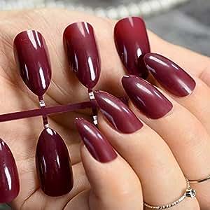 Amazon.com: Meili 24 uñas postizas moradas de color púrpura ...