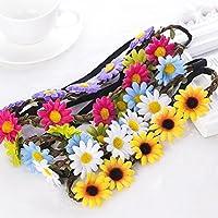 AWAYTR Lady Girl Fashion Bohemian Flower Crown Floral Garland Headbands (B-Mixed Color-9Pcs)