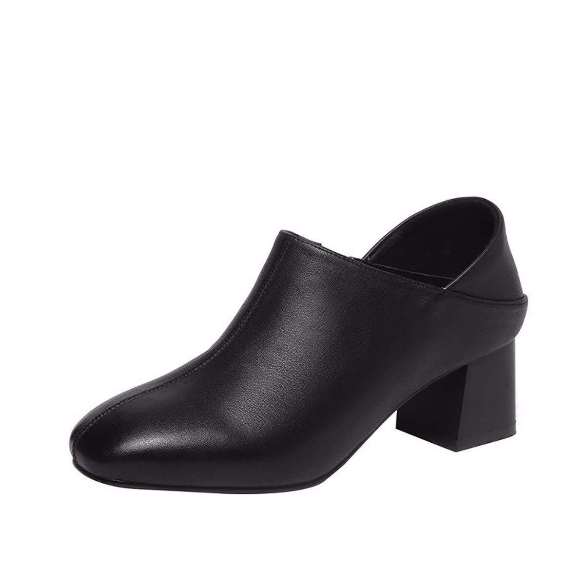 KOKQSX-Damen - Stiefel Tiefe Mund Leder high Heels die Schuhe Kurze Stiefel.