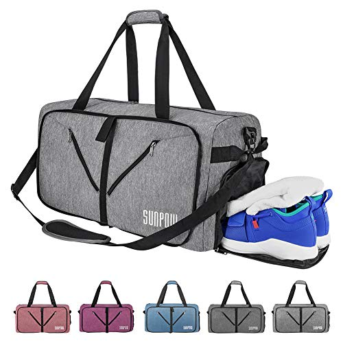 SUNPOW 65L Travel Duffle Bag, Foldable Sport Gym Bag with Shoe Compartment, Lightweight Luggage Duffel Bags for Men Women