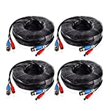 Annke 4-Packed 30M/100 Feet BNC Video Power Cable For CCTV AHD Camera DVR Security System-Black
