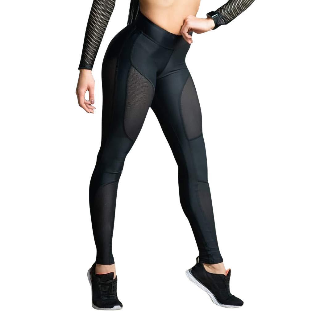 YunZyun Women's High Waist Yoga Pants See-Through Workout Leggings Fitness Sports Stitching Hip Yoga Athletic Pants (S)