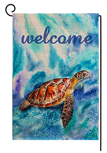 BLKWHT Blue Sea Turtles Welcome Summer Garden Flag Nautical Vertical Double Sided 12.5 x 18 Inch Yard Decor