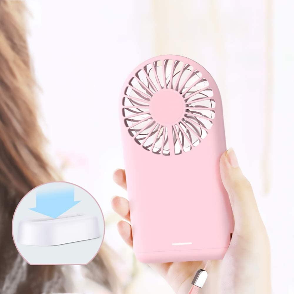 Color : Pink XIAOF-FEN Portable Multi-Function Charging Fan Mini USB Handheld Small Fan Desktop Silent Fan USB Fan
