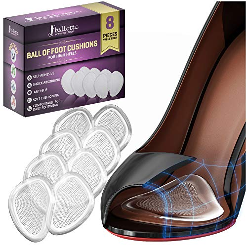 Ball of Foot Cushions Shoe Inserts Women Metatarsal Pads for High Heels (4 Pairs; 8 pcs)