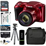 Canon PowerShot SX420 IS Digital Camera (Red) with 20MP, 42x Optical Zoom, 720p HD Video and Built-In Wi-Fi + 32GB Card + Reader + Spare Battery + Tripod + Digital Camera Accessory Bundle