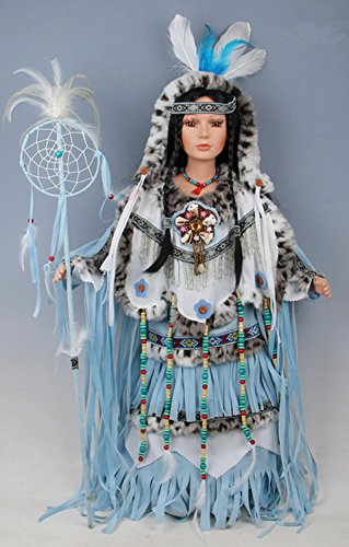 "28"" Collectible Native American (Indian) Porcelain Doll - Blue Bird-D28677"