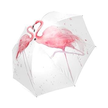 Custom flamencos resistente al viento resistente al agua plegable paraguas de viaje compacto