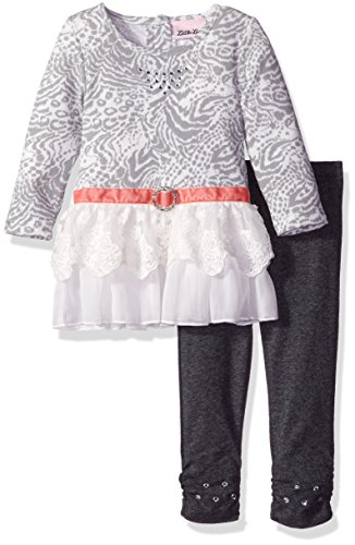 (Little Lass Baby Girls' 2 Piece Legging Set Embroidery Scallop, Gray, 18)