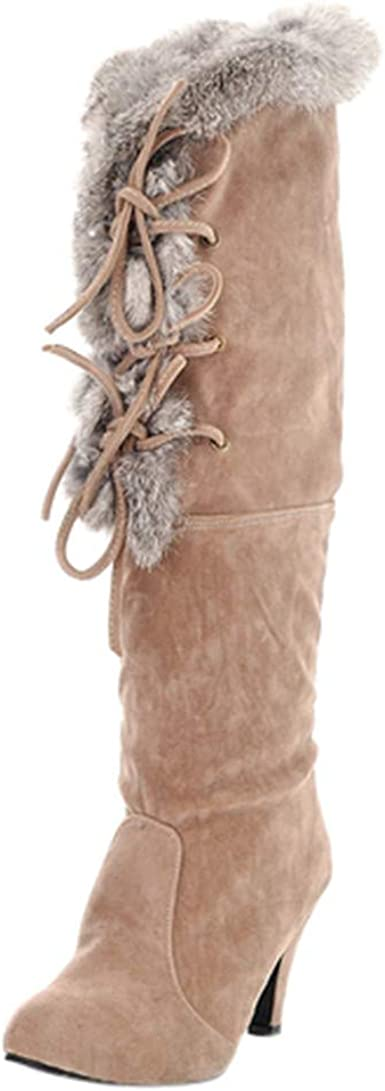 Women/'s Winter Slip On Plush Lined Booties Over The Knee High Suede Long Boots